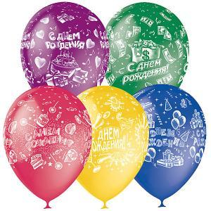 Воздушные шары  С днём рождения 25 шт., пастель + декоратор Latex Occidental
