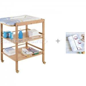 Пеленальный столик  Clarissa и Пеленка Mjolk Кокосы/Hello mommy 80х80 см Geuther