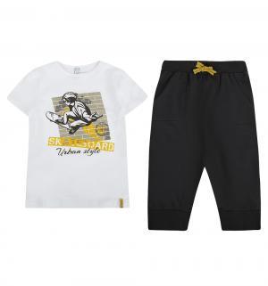 Комплект футболка/бриджи SCool Для дома, цвет: белый/серый S'Cool