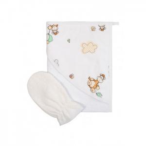 Махровое полотенце с рукавичкой Сонный гномик