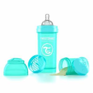 Бутылочка для кормления  антиколиковая полипропилен с 0 мес, 260 мл, цвет: бирюзовый Twistshake