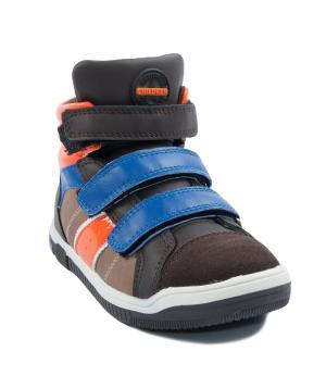 Ботинки на липучках для мальчика (коричневые) King Boots. Цвет: коричневый