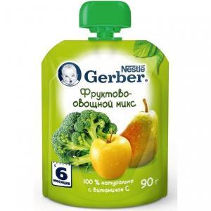 Пюре  фруктово-овощной микс с 6 месяцев, 90 г Gerber
