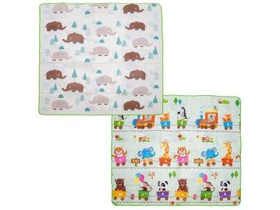 Игровой коврик  Милые слоники и Дружный паровозик-счет 200х180х0.5 см BabyPol