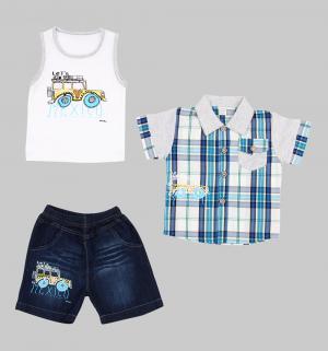 Комплект рубашка/майка/шорты , цвет: мультиколор Fun Time