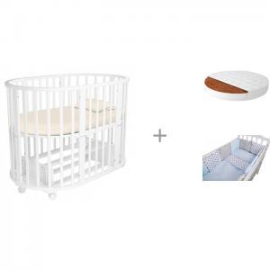Кроватка-трансформер  Lavatera 6 в 1 (маятник) с матрасом Малышок Классик и комплектом кроватку Anchor Forest