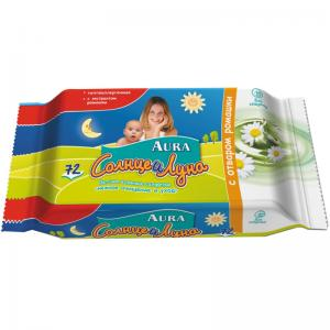 Влажные салфетки Солнце и Луна с отваром ромашки Луна, 72 шт Aura