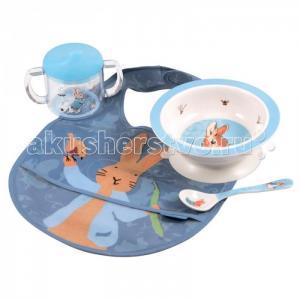 Набор детской посуды Peter Rabbit с нагрудником Petit Jour
