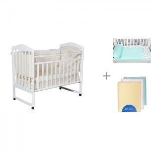 Детская кроватка  Helen 1 с постельным бельем AmaroBaby Baby Boom Мороженки и пеленками Daisy фланель Кедр