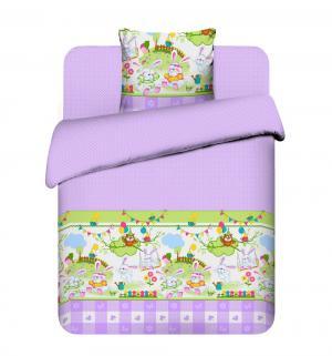 Комплект постельного белья  Зайка-огородник, цвет: фиолетовый/зеленый Василек