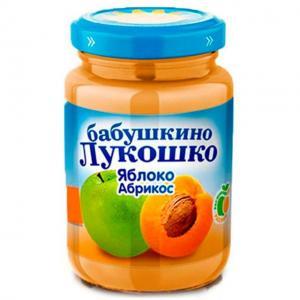 Пюре  яблоко-абрикос с 5 месяцев, 200 г Бабушкино лукошко