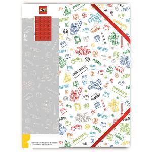 Альбом для рисования A4 (96 листов) , цвет: белый с красным кубиком LEGO