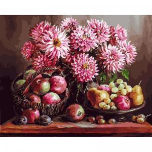 Живопись на подрамнике  Розовые георгины Белоснежка