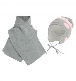 Комплект шапка/шарф  Kropka розовый/серый Ewa