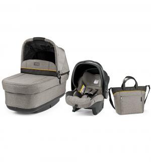 Набор для трансформации  Люлька Navetta Pop Up + автоклесло Primo Viaggio Tri-Fix сумка Borsa, цвет: бежевый/серый Peg-Perego