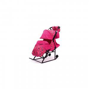 Санки-коляска  Зимняя Сказка 3В, черная рама, розовый/снежинки ABC Academy