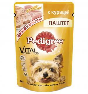 Влажный корм для взрослых собак мелких пород  Vital Protection паштет с курицей, 80 гр Pedigree