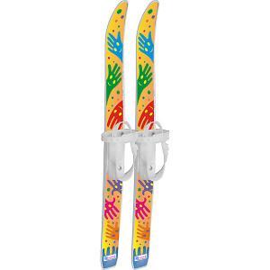 Лыжи детские Лыжики пыжики Ручки с палками, в сетке (75/75) Цикл. Цвет: белый