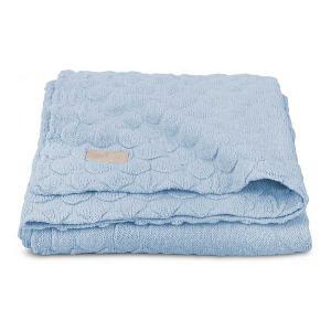 Вязаный плед Jollein Fancy knit baby blue, 75х100 см. Цвет: синий