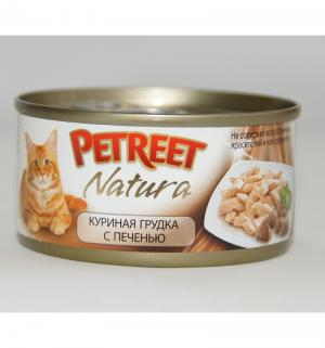 Влажный корм  для взрослых кошек, куриная грудка/печень, 70г Petreet
