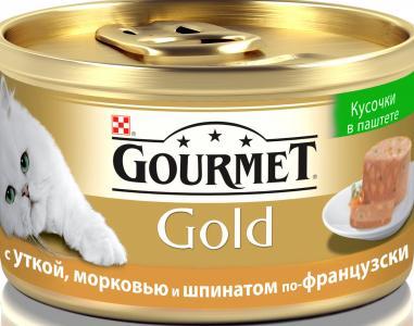 Корм влажный  Gold для взрослых кошек, утка/морковь/шпинат, 85г Gourmet