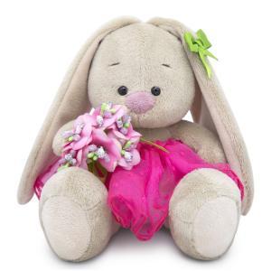 Мягкая игрушка  Малыши Зайка Ми c букетом в розовой юбке 15 см Budi Basa