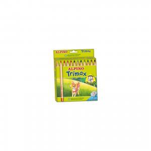 Цветные утолщенные трехгранные карандаши Trimax, 12 цв. + специальная точилка ALPINO