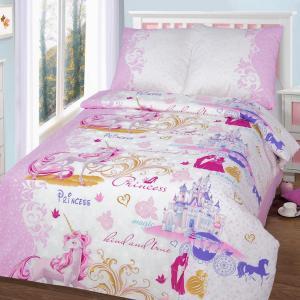 Комплект постельного белья  Королевство, цвет: белый/розовый 4 предмета Артпостель
