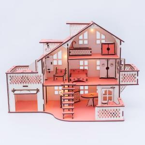 , Дом куколный с гаражем, со светом Iwoodplay