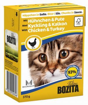 Влажный корм  для взрослых кошек, курица/индейка, 370г Bozita