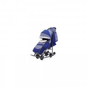 Санки-коляска  Скандинавия на тёмно-серой раме, синий ABC Academy. Цвет: синий