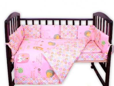 Комплект постельного белья  Кольца, цвет: розовый 18 предметов Bomani