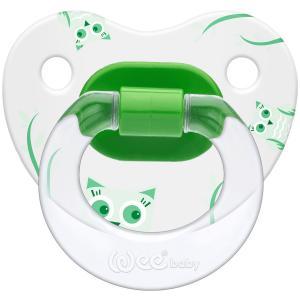 Соска-пустышка Weebaby ортодонтическая с рисунком, от 6 мес., зеленая