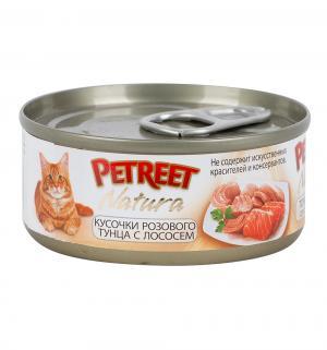 Влажный корм  для взрослых кошек, кусочки розового тунца/лосось, 70г Petreet