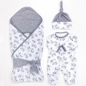 Комплект на выписку  летний (плед, лента, комбинезон, шапочка) Еноты СуперМаМкет