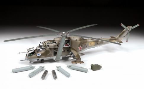 Сборная модель Советский ударный вертолет Ми-24В/ВП Звезда