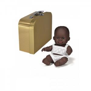 Кукла пупс Девочка африканка с одним комплектом одежды в  чемоданчике 21 см Miniland