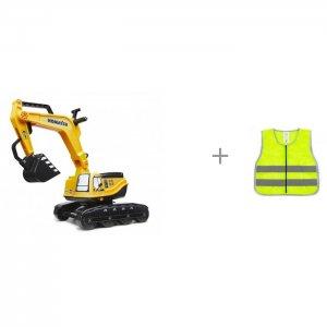 Трактор-экскаватор и жилет светоотражающий детский размер 3 Autoprofi Falk