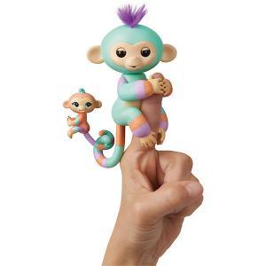 Интерактивная обезьянка  Fingerlings Денни с малышом, 12 см WowWee. Цвет: бирюзовый