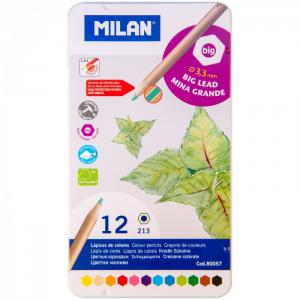 Карандаши 213 12 цветов металлический пенал Milan