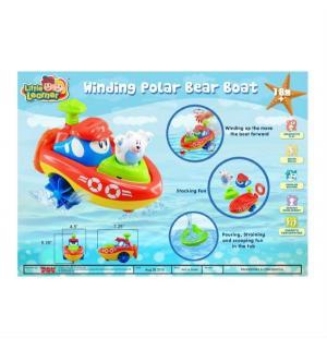 Заводная игрушка для ванной  Кораблик - Полярный медведь, 18 см Happy Kid