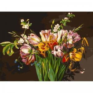 Живопись на подрамнике  Голландские тюльпаны Белоснежка