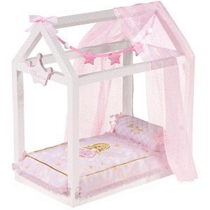 Кроватка для кукол  Мария с аксессуарами, 55 см DeCuevas. Цвет: розовый/белый