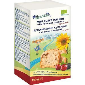 Детские пшеничные мини сухарики  изюм и клюква, с 3 лет Fleur Alpine