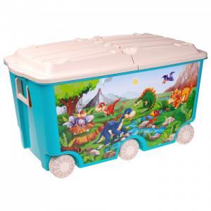 Ящик для игрушек на колесах с декором 66.5 л 68,5*39,5*38,5 мм Пластишка