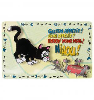 Коврик под миску для кошек  Кошка, цвет: разноцветный, 44*28см Trixie