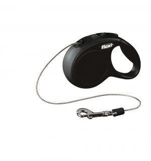 Рулетка New Classic тросовая XS, 3м, до 8 кг, цвет: черный Flexi