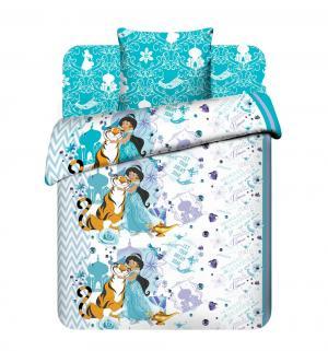 Комплект постельного белья  Жасмин и Раджа, цвет: белый/бирюзовый Василек