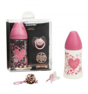 Набор  Haute Couture полипропилен 0-4 мес, 270 мл, цвет: розовый/сердце Suavinex