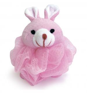 Мочалка  в форме животных, цвет: розовый Сказка